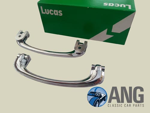 CHROME INTERIOR DOOR PULL HANDLES (LUCAS) ; P4 '53-'64