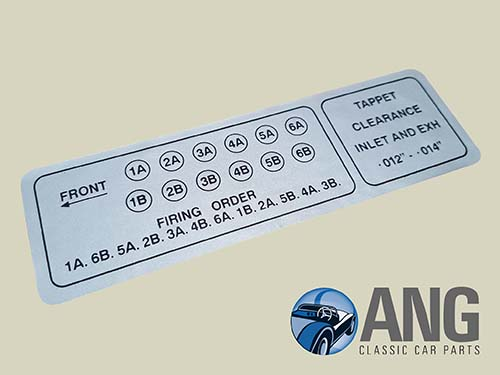 FIRING ORDER, TAPPETS CLEARANCE DECAL ; E-TYPE 5.3 V12 SERIES 3