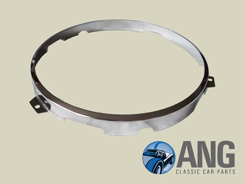 "CHROMED STEEL INNER HEADLAMP RIM (7"") ; JENSEN HEALEY"
