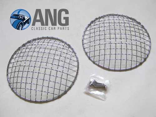 HEADLAMP MESH STONE GUARDS x 2; MGB, MGB-GT, MGB-GT V8