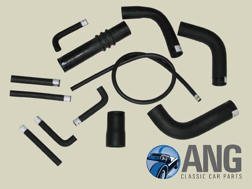 REINFORCED RUBBER RADIATOR HOSE KIT ; JAGUAR E-TYPE 3.8 SERIES 1