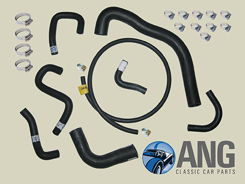 RADIATOR WATER COOLING HOSES & CLIPS KIT ; MIDGET 1500