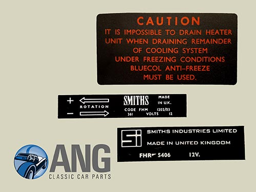 SMITHS HEATER SYSTEM & FAN STICKERS x 3 ; MGB, MGB-GT, MGB-GT V8